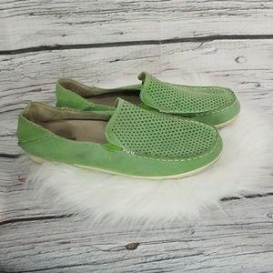 Olukai Nohea Perf GREEN slip on suede loafers sz 9